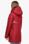 Оптом Куртка парка зимняя женская бордового цвета 18113B в  Красноярске, фото 4