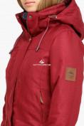 Оптом Куртка парка зимняя женская бордового цвета 18113B в  Красноярске, фото 5