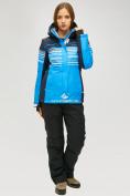 Оптом Женский зимний горнолыжный костюм синего цвета 01856S в  Красноярске