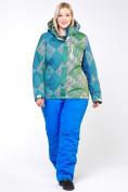 Оптом Костюм горнолыжный женский большого размера салатового цвета 01830-2Sl в  Красноярске