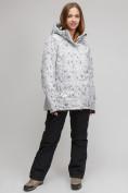 Оптом Костюм горнолыжный женский большого размера белого цвета 01830-1Bl в Екатеринбурге