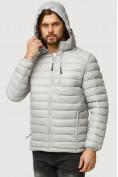 Оптом Куртка мужская стеганная светло-серого цвета 1852SS в Казани, фото 5