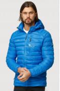 Оптом Куртка мужская стеганная голубого цвета 1852G в Нижнем Новгороде, фото 2