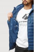 Оптом Куртка мужская стеганная синего цвета 1852S в Казани, фото 6