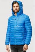 Оптом Куртка мужская стеганная голубого цвета 1852G в Нижнем Новгороде, фото 5