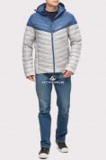 Оптом Куртка мужская стеганная светло-серого цвета 1853SS в Казани