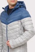 Оптом Куртка мужская стеганная светло-серого цвета 1853SS в Казани, фото 5