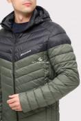 Оптом Куртка мужская стеганная цвета хаки 1853Kh, фото 6