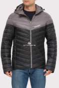 Оптом Куртка мужская стеганная черного цвета 1853Ch, фото 3