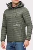 Оптом Куртка мужская стеганная цвета хаки 1858Kh в Екатеринбурге, фото 3