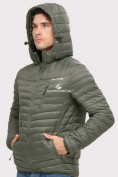 Оптом Куртка мужская стеганная цвета хаки 1858Kh в Екатеринбурге, фото 5