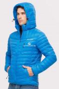 Оптом Куртка мужская стеганная голубого цвета 1858G в Екатеринбурге, фото 5