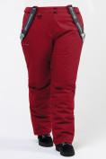 Оптом Брюки горнолыжные женские большого размера бордового цвета 1878Bo в Казани, фото 2