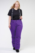 Оптом Брюки горнолыжные женские большого размера фиолетового цвета 1878F в Екатеринбурге, фото 2