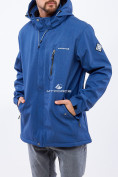 Оптом Ветровка softshell мужская большого размера синего цвета 1921S в  Красноярске, фото 2