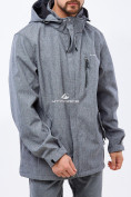 Оптом Ветровка softshell мужская большого размера серого цвета 1921Sr в  Красноярске, фото 2