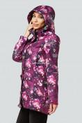 Оптом Парка женская осенняя весенняя softshell фиолетового цвета 1922-2F в Казани, фото 5