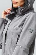 Оптом Парка женская осенняя весенняя softshell серого цвета 1922Sr в Екатеринбурге, фото 7