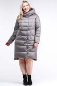 Оптом Куртка зимняя женская молодежная серого цвета 191923_30Sr в Казани