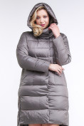 Оптом Куртка зимняя женская молодежная серого цвета 191923_30Sr в Казани, фото 5