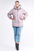 Оптом Куртка зимняя женская молодежная с помпонами розового цвета 1943_12R в Казани