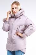 Оптом Куртка зимняя женская молодежная с помпонами розового цвета 1943_12R в Казани, фото 3