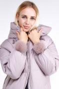 Оптом Куртка зимняя женская молодежная с помпонами розового цвета 1943_12R в Казани, фото 6