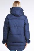 Оптом Куртка зимняя женская молодежная с помпонами темно-синего цвета 1943_22TS в Казани, фото 4