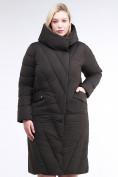 Оптом Куртка зимняя женская классическая одеяло коричневого цвета 191949_09K в  Красноярске, фото 3