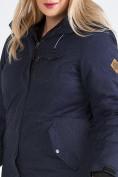 Оптом Куртка парка зимняя женская большого размера темно-синего цвета 19491TS, фото 12