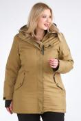 Оптом Куртка парка зимняя женская большого размера горчичного цвета 19491G в Екатеринбурге, фото 3