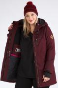 Оптом Куртка парка зимняя женская большого размера бордового цвета 19491Bo, фото 2
