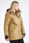 Оптом Куртка парка зимняя женская большого размера горчичного цвета 19491G в Екатеринбурге, фото 6