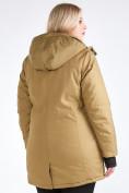 Оптом Куртка парка зимняя женская большого размера горчичного цвета 19491G в Екатеринбурге, фото 7