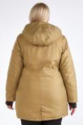 Оптом Куртка парка зимняя женская большого размера горчичного цвета 19491G в Екатеринбурге, фото 8