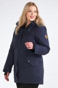 Оптом Куртка парка зимняя женская большого размера темно-синего цвета 19491TS, фото 3