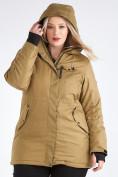 Оптом Куртка парка зимняя женская большого размера горчичного цвета 19491G в Екатеринбурге, фото 9