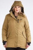 Оптом Куртка парка зимняя женская большого размера горчичного цвета 19491G в Екатеринбурге, фото 10