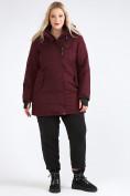 Оптом Куртка парка зимняя женская большого размера бордового цвета 19491Bo, фото 7