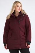 Оптом Куртка парка зимняя женская большого размера бордового цвета 19491Bo, фото 4