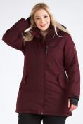Оптом Куртка парка зимняя женская большого размера бордового цвета 19491Bo, фото 5
