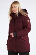 Оптом Куртка парка зимняя женская большого размера бордового цвета 19491Bo, фото 6