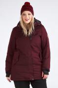 Оптом Куртка парка зимняя женская большого размера бордового цвета 19491Bo, фото 8
