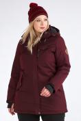 Оптом Куртка парка зимняя женская большого размера бордового цвета 19491Bo, фото 9