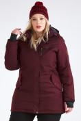 Оптом Куртка парка зимняя женская большого размера бордового цвета 19491Bo, фото 10