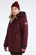 Оптом Куртка парка зимняя женская большого размера бордового цвета 19491Bo, фото 11