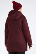 Оптом Куртка парка зимняя женская большого размера бордового цвета 19491Bo, фото 12