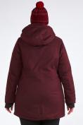 Оптом Куртка парка зимняя женская большого размера бордового цвета 19491Bo, фото 13