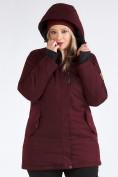 Оптом Куртка парка зимняя женская большого размера бордового цвета 19491Bo, фото 14