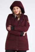 Оптом Куртка парка зимняя женская большого размера бордового цвета 19491Bo, фото 15